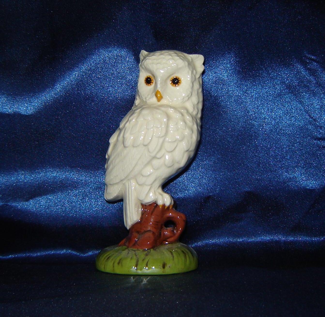 White Glazed Owl Figurine Ceramic Owl Ceramic Figurine