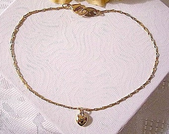 Puffed Heart Anklet Bracelet Gold Tone Vintage Avon Bar Link Chain