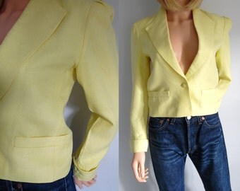 Yellow blazer jacket, vintage french summer jacket, single breasted, cropped, smart tailored, small