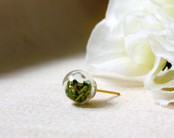 Orb / earring / green/ Glass orb, Natural Dried Flower, Stud, Mini Earring, Real Flower Earring, Gift for her, Plant Jewelry, Flower Jewelry