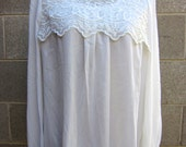 Vintage white sheer shirt with lace collar detail