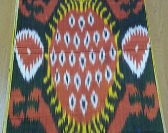Uzbek Silk Ikat Fabric Adras-Pattern-handwoven-exotic silks-silk boheme-fabric supply-red-white-yellow-blue-black-sewing