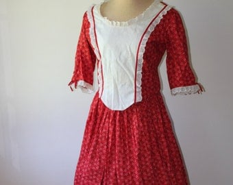 Red Country Vintage Hand Made Woman's Long Dress w/ cap and Shawl