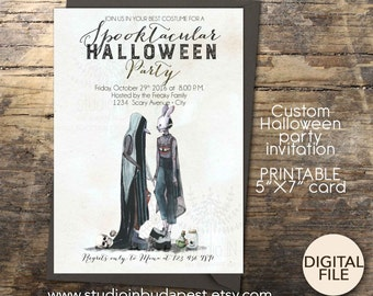 Printable Halloween Invitation, Halloween party invitation, Halloween costume party invitation, potluck invitation