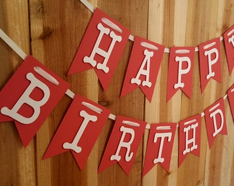 Happy Birthday Banner, Happy 1st Birthday, Two Tone Red Banner