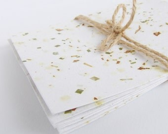 10 Sheets Handmade Herb Paper Notelets, Homemade Recycled Craft Paper, Letter Stationary, Scrapbooking Paper, Upcycled Writing Paper