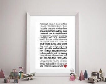 CAREGIVER/DAYCARE POEM Modern Print - Daycare Provider Gift, Caregiver Print, Godmother, Stepmom, Stepmother, Family Art, Like a Mother