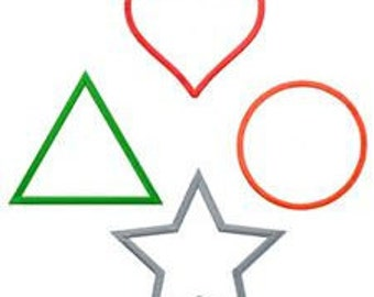Embroidery Shapes Frames Applique Pack, Circle, Triangle, Star, Heart