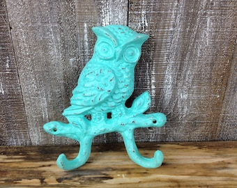 Heavy Teal Cast Iron Owl Wall Hook Bright Blue Girls Room Decor Nature Inspired Nursery Accessory Bedroom Hand Painted Bathroom Towel Hanger