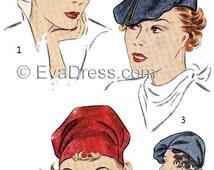 "1937 Set of Three Hat Styles 22 to 22-1/2"" head EvaDress Pattern"