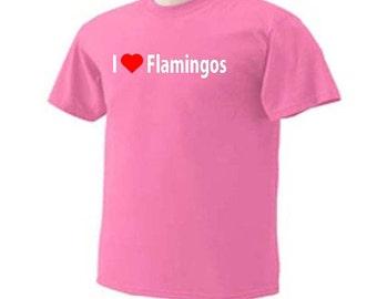 I Love Flamingos Birds Wildlife Beach Ocean T-Shirt