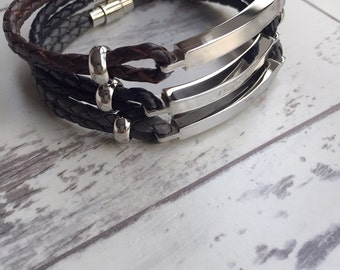 Men's ID Bracelet - Men's Leather Bracelet - Gift for Him