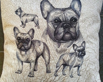 embroidered cushion cover - throw pillow - Bulldog