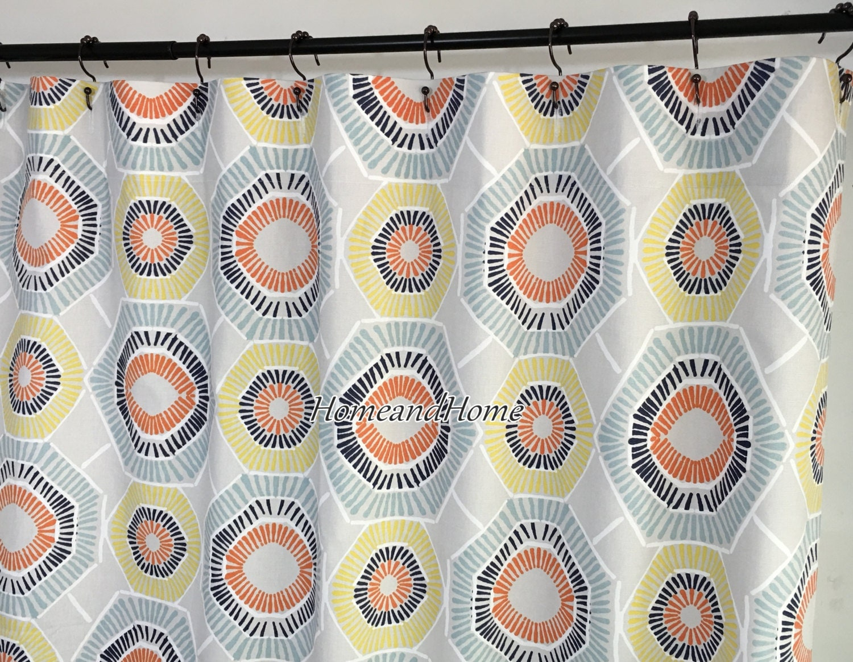 Custom Fabric Shower Curtain Charm Spa Blue Taupe 72 X 84 108
