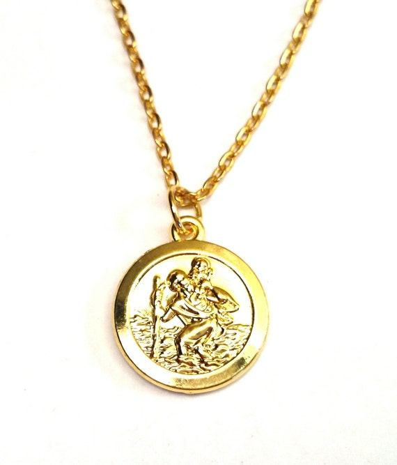 st christopher necklace gold saint christopher necklace. Black Bedroom Furniture Sets. Home Design Ideas