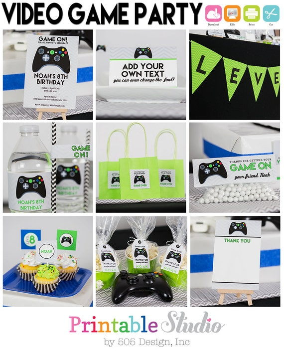 video game birthday party instant download by
