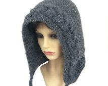 Pixie hood, Elfin hat, Elven hood, Festival, Hippy, Boho, Winter hat, Hand knit Hat, Fairy hood, Alpaca hat, Cabled hat, Grey hat, Woodland