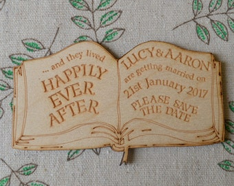 Fairytale Book 'Happily Ever After...' Personalised Wooden SAVE THE DATE Fridge Magnets