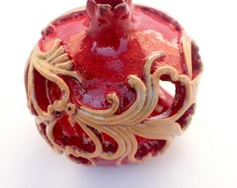Ceramic Pomegranate with ornaments, Wedding favors, Ceramic Pomegranate Candlestick For Gift, ceramic and pottery, ceramic wedding favors