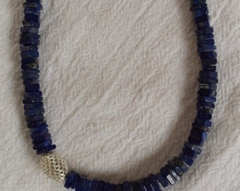 Deep blue Lapis with silver olive