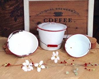 Vintage 1950's White and Red Enamelware Bowl Set