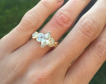 Ladies 14kt 2 tone gold Marquise Engagement Ring