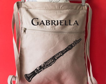 Canvas Backpack Personalized Bag Teacher Backpack Clarinet Gifts Canvas Book Bag Music Bag. Clarinet Bag Music Lesson Tote Bag