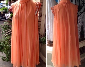 60's Silk Peachy Chiffon Layered Silky Dress ~ M/L