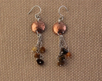 Copper disk earrings with dangling agates on silver chain