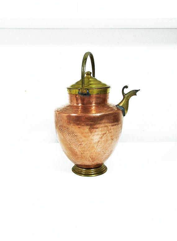 Vintage Copper Pot Copper Tea Pot Farmhouse Decor Vintage