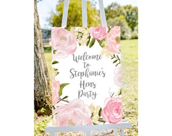 Hens party welcome sign, Welcome to hens party sign, pastel hens party sign, floral hens party, printable welcome, welcome party sign