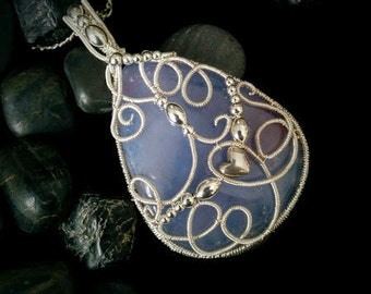 Soft purple chalcedony silver wire wrapped pendant, gift for mother's day