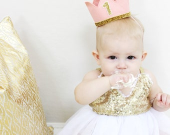 First Birthday Crown | 1st Birthday Girl Outfit | Felt Birthday Crown | Baby Girl First Birthday Hat | First Birthday Girl | Blush Gold