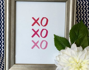 XOXO Art Print - Wall Art - Party Decor - Pink - Love - Valentine - Hugs and Kisses - 5x7 or 8x10