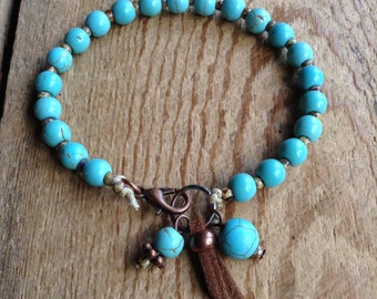 15.5 turquoise bohemian bracelet boho chic beaded boho bracelet hippie bracelet gypsy bracelet womens jewelry hippie jewelry western jewelry