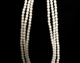 Vintage 3 Strand Faceted Milk Glass Necklace    VG2224