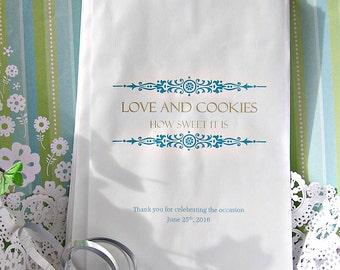 Personalized Cookie Bags - Wedding Cookie Bags - Cookie Bar Bags - Cookie Buffet - Love C09j-P19