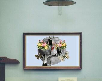 "Moon art print, moon surreal print, vintage illustration poster, boho art decor, surreal collage art, mixed media collage art - ""Holy Moon""."