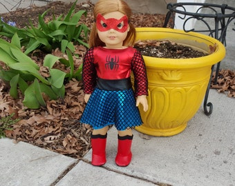 Spiderman outfit for 18 inch dolls, Spiderman doll costume, Spidergirl doll, Spiderman doll, American Girl Spiderman