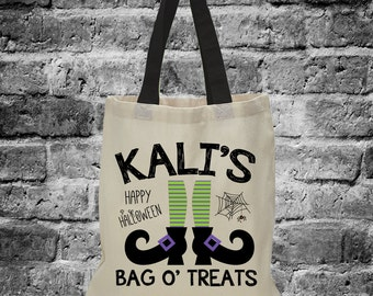 Halloween Treat Bag, Personalized Halloween Treat Bag, Witch (1019)