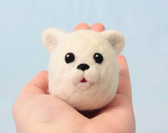 Needle felted white bear - Cute little bear ornament, a lovely handmade gift for a friend. Desk buddy bear figurine. Made from wool.