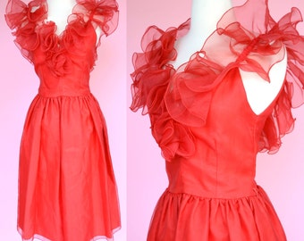 Vintage 50s, Rockabilly, Red Dress // 1950s Prom, Retro, Ruffles, Cocktail Dress, Women Size XS, S