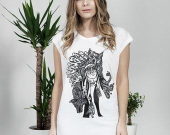 Women's Organic Sleeveless T-Shirt - Lonewolf Print