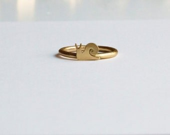 Adorable snail ring, minimalist, handmade brass or sterling silver