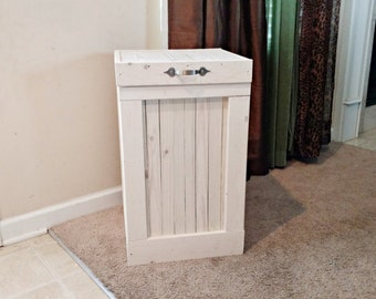 Trash Bin, White Washed, Garbage Can, Country Kitchen, Wood Trash Can,