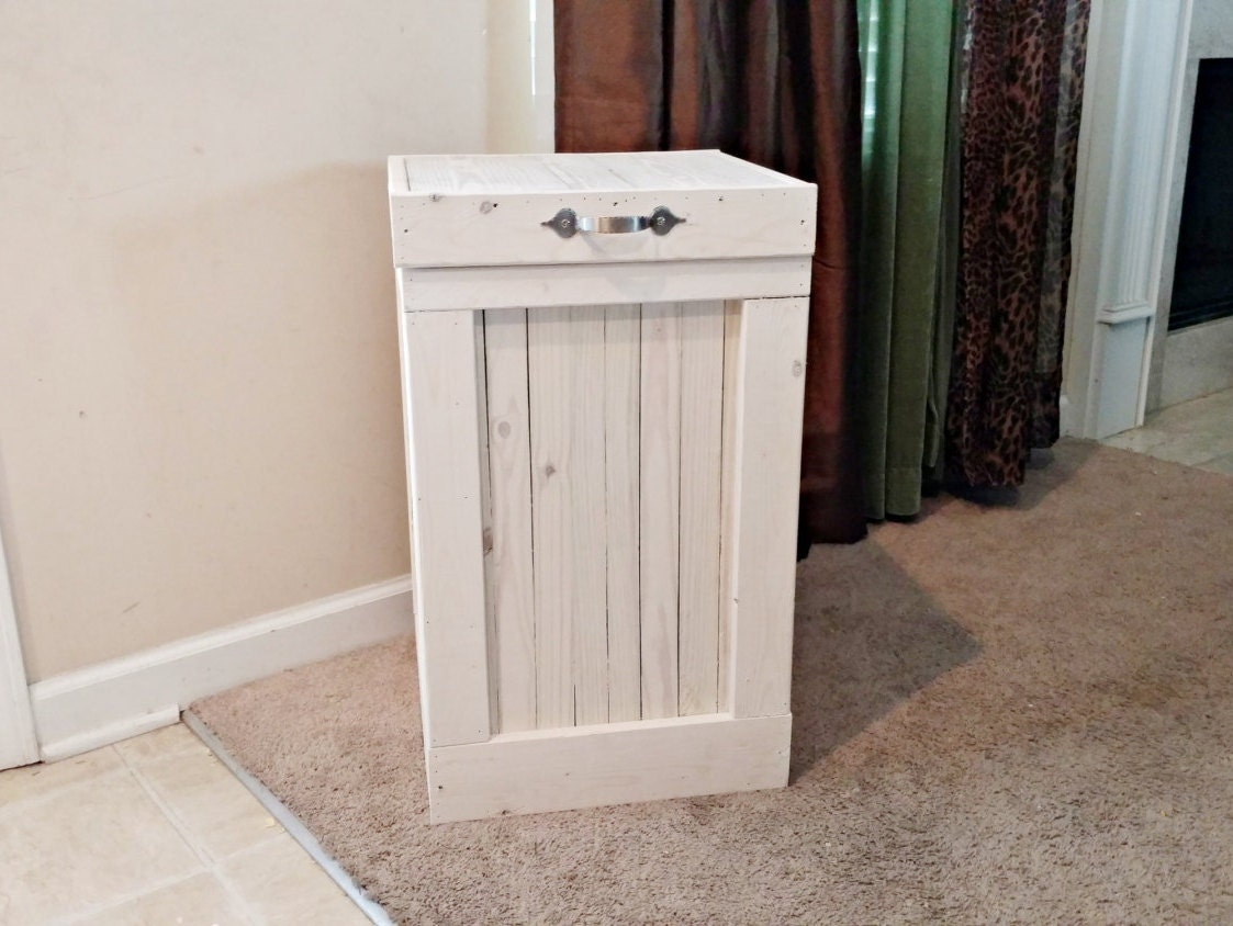 Kitchen Waste Basket Holder: Trash Bin White Washed Garbage Can Country Kitchen Wood