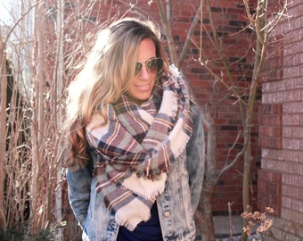 SALE!! Heather Skies Plaid Blanket Scarf, Winter scarf, Blanket scarf, Plaid Scarf, Tartan scarf, plaid scarf, Oversized Sized Scarf