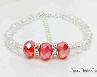 Red Crystal Bracelet Red Bridesmaid Gift Wedding Party Gift Red Beaded Bracelet Handmade Gift for Bridesmaid Red Bridal Jewelry Under 20