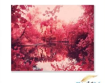 Infrared Art Print 8x10, Instant Download, Lake Printable, DIY, Digital Download, Landscape Decor, Pink Art, Room Decor