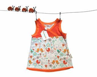 baby dress bird, red grey orange baby dress, top size 12 Months, 1T, girl spring dress, baby girl dress, summer dress, kids clothing,